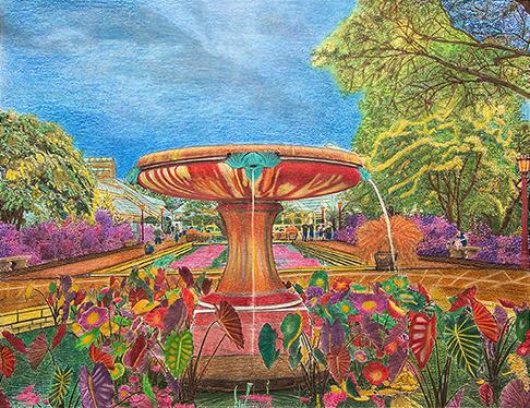 Hand Colored Photograph - Brooklyn Botanic Garden